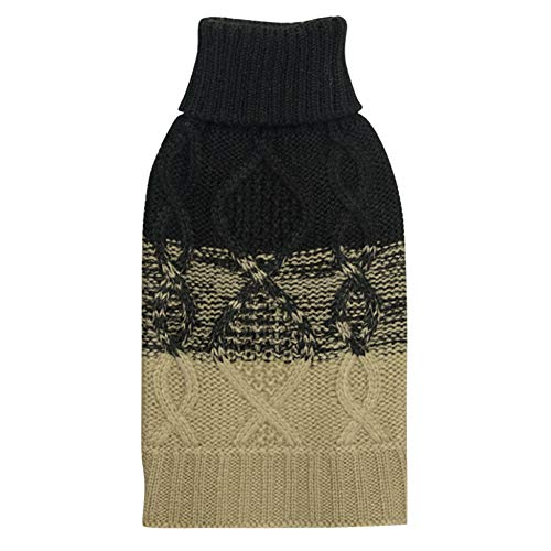 Black Dog Knit Sweater - Ihoming Pet Autumn Winter Sweater Knit Dog Cat Pullover Black and Light Tan S