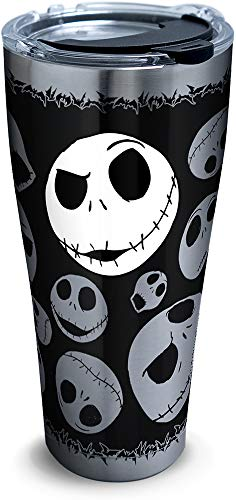 (Tervis 1297809 Disney - Nightmare Before Christmas 25th Anniversary Stainless Steel Insulated Tumbler with Clear and Black Hammer Lid, 30oz, Silver)