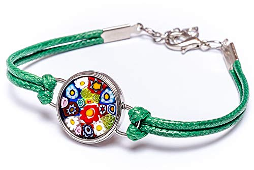 (Millefiori Unique Green Lolly Bracelet, Made of Authentic Murano Glass, Italian Design)