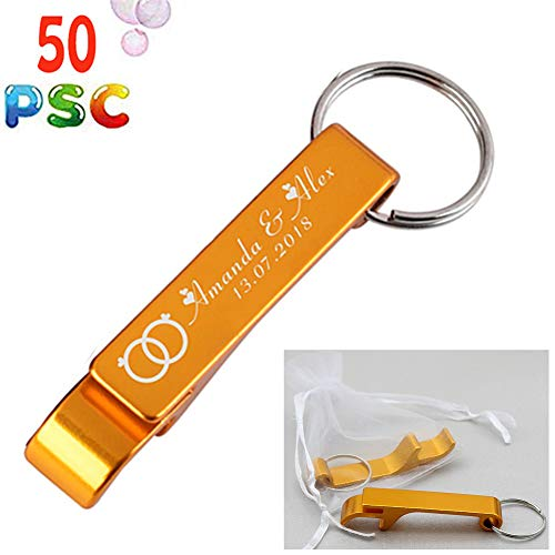 50pcs Personalized Engraved Bottle Openers Keychains Wedding Favors Party Promotional Giveaway Gift+ White Organza bags (Gold)