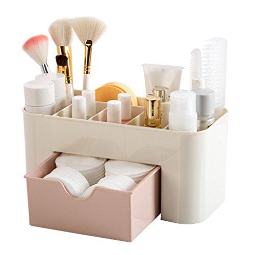 YJYdada Cosmetics Organizer Saving Space Desktop Makeup Storage Drawer Type Box (Pink)