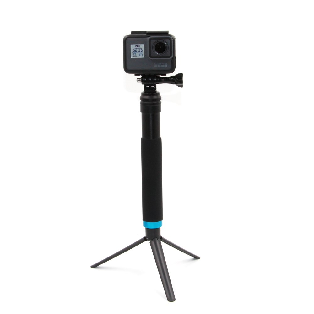 TELESIN 6-in-1 Aluminum Alloy Handheld Extendable Portable Monopod Selfie Stick with Mini Tripod & Tripod Mount & Phone Clip for Apple, Android Smartphones, Gopro camera-(Black, 8' Short in Folded) 8 Short in Folded) GP-MNP-090-D