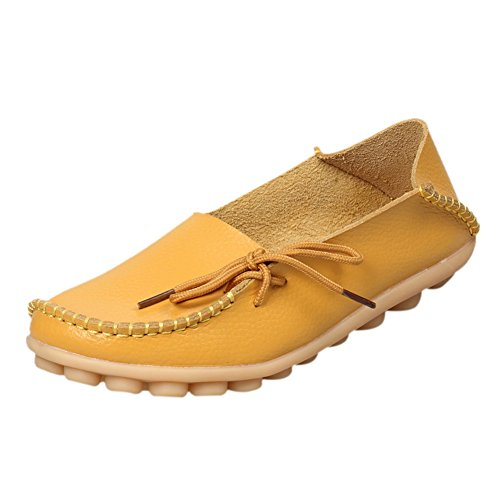fereshte Women's Leather Moccasins Flats Casual Driving Loafers Shoes Yellow #1 US ()