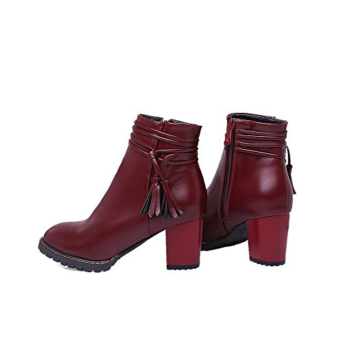 AgooLar Women's Round Closed Toe Kitten-Heels Soft Material Low-Top Solid Boots Claret azlxaYf