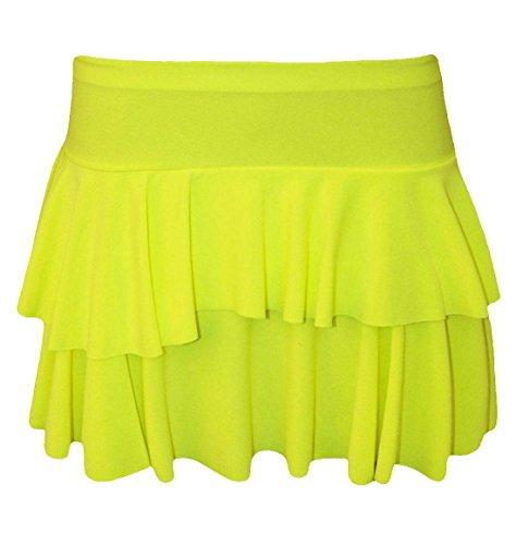 Islander Fashions Womens 2 couches volants RaRa jupe Ladies Party Dance Wear Mini Dguisement jupe S/XL Yellow
