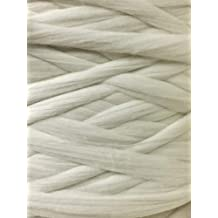 1lb Pound of Butter Soft Natural White Wool Top Roving Fiber Spin, Felt Crafts Luxurious with Fast Shipping! 1lb