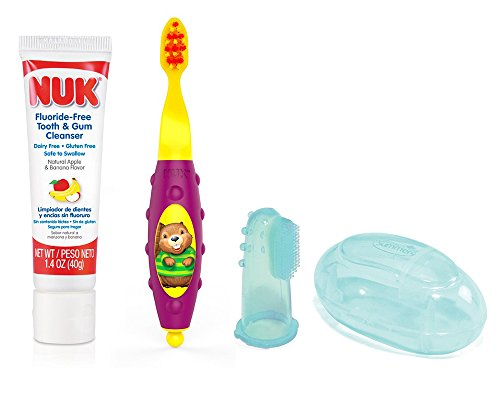 Toothpaste Apple Flavored (NUK Grins & Giggles Toddler Tooth & Gum Cleanser with Training Brush, Purple and Finger Toothbrush)