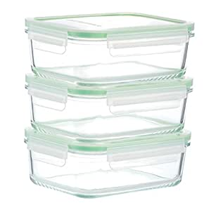 Kinetic GoGREEN Glassworks Series 6 Piece Rectangular Oven Safe Glass Food Storage Container Set 30-Ounce Each (3 Containers and 3 Lids) 01329