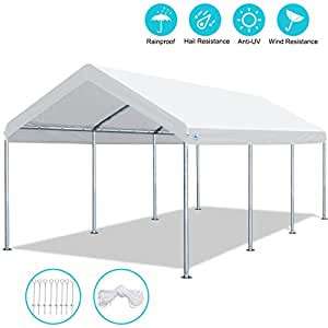 ADVANCE OUTDOOR 10x20 FT Heavy Duty Carport Canopy Car Garage Shelter Tent - 4 Adjustable Height from 6 FT to 7.5 FT
