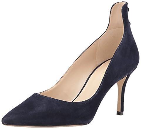 Nine West Women's Maqui Pump, Navy Suede, 7.5 Medium US - Blue Suede Pump Shoes