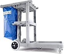 "Carlisle JC1945L23 Polyethylene Long Platform Janitorial Cart, 300 lbs Capacity, 49"" Length x 19"" Width 39"" Height, Gray"