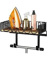 SRIWATANA Ironing Board Hanger Wall Mount, Iron & Ironing Board Holder with Wooden Base - Carbonized Black