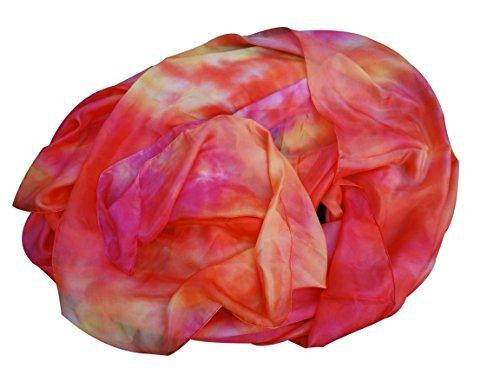 Winged Sirenny Belly Dance Silk Veil, Light 5 Mommes Real Silk, 2.7m x 1.1m (3'x43