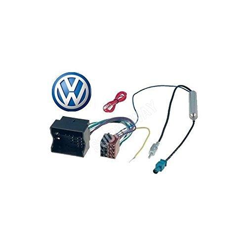 Adaptador de VW-Cable con conector ISO para radio de coche TRANSPORTER//VW SCIROCCO JETTA//adaptador de antena amplificado fakra