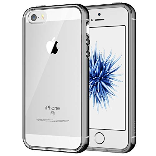 JETech Case for Apple iPhone SE 5S 5, Shock-Absorption Bumper Cover, Anti-Scratch Clear Back, Grey