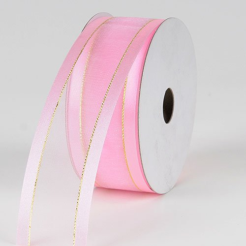 Light Pink with Gold Edge Organza Ribbon Gold Satin Edge 5/8 inch 25 - Satin Organza Pink Edge Ribbon