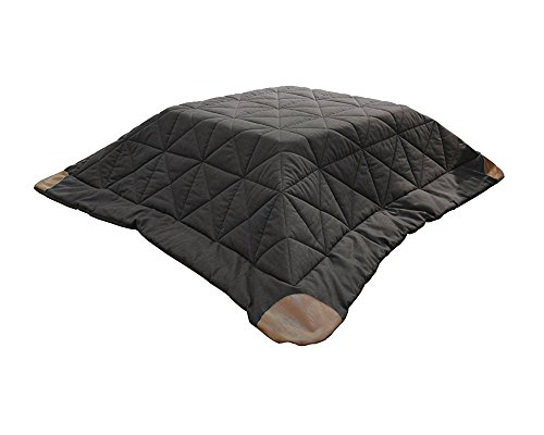 AZUMAYA Kotatsu Futon Square (75 x 75 inches) Dark Brown KK-109 Polyester Fabric and Synthetic Leather Corner Finish Home and Living ()