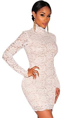 Blorse Christmas Lace Nude Iullusion Mock Neck Dress