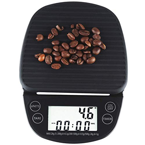 Digital Kitchen Scales Portable Coffee Scale with Timer Food Weight Scale 0.1g 2kg -