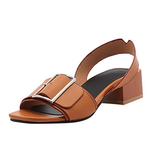 Womens Summer Wide Width Sandals Belt Buckle Square Heel College Ladies Shoes Brown ()