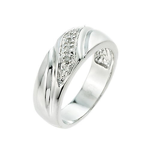 Men's 925 Sterling Silver Diamond Wedding Band (Wedding Bands For Men Diamond)