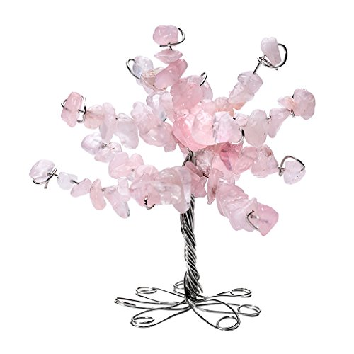 Top Plaza 7 Chakras Healing Crystal Tumbled Gemstone Money Tree Lucky Feng Shui Spiritual Table Decor Figurine Ornament 2.5-3 Inches(Rose Quartz) - Kidney Shape Accent Table