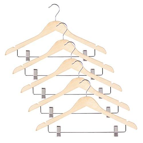 Richards Homewares Imperial Set/5 Blonde Wood Suit Hanger with Clips-Set of 5