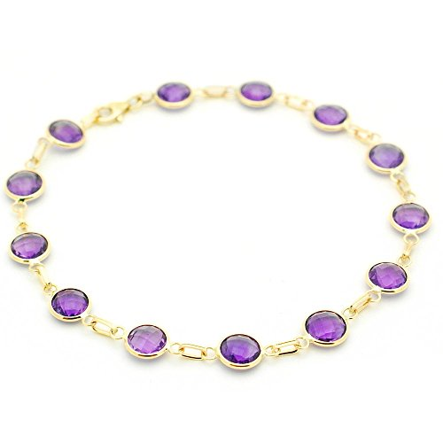 14k Yellow Gold Handmade Bracelet with Round 6mm Amethysts 7 Inches by amazinite