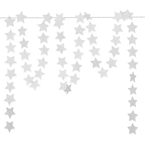 Glitter Silver Paper Star Hanging Garland - Twinkle Star Banner for Baby Shower Backdrop, Birthday Party Wall Decoration, 2.8