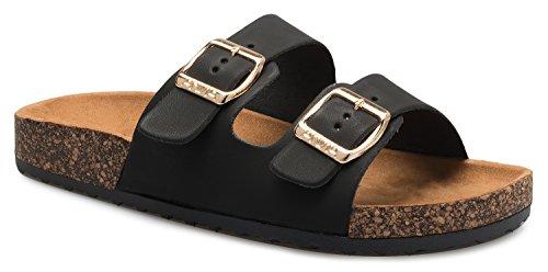 OLIVIA K Women's Summer Open Toe Double Buckle Strap Fashion Cozy Footbed Flat Sandals ()