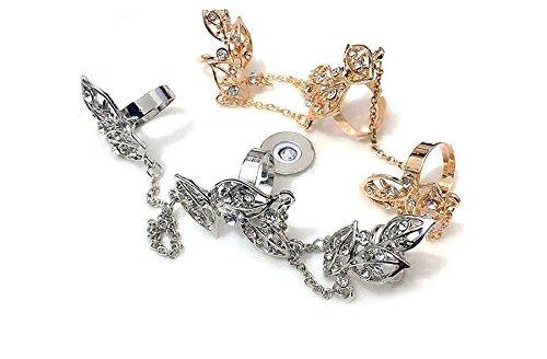 MIDI Ring Ring Ring Ring joyas mano cadena anillo con brillantes hojas Leaf Vintage Retro en oro de imitación de desido®