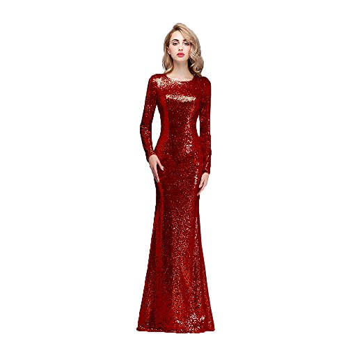 Honey Qiao Sparkly Bridesmaid Dresses Long Sleeves High Back Prom Party Gowns Burgundy