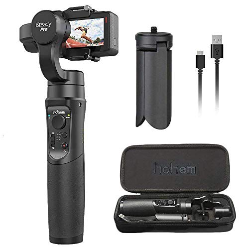 Hohem iSteady Pro 3-Axis Handheld Gimbal Stabilizer for Gopro Hero 2018/6/5/4/3+/3, Yi Cam 4K, AEE, SJCAM Sports Cams Action Camera, 12h Run-Time, APP Controls for Time-Lapse, Tracking, Auto Panoramas