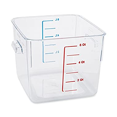 Rubbermaid Commercial Space Saving Food Storage Container, 6-Quart, Clear, FG630600CLR