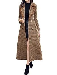 Women's Slim cashmere coat Long Trench Coat Button Woolen coat
