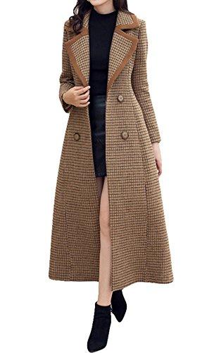 Cashmere Womens Overcoat - Women fashion Length Overcoat Cashmere Coat Trench Coat Walker (US 10, Khaki)