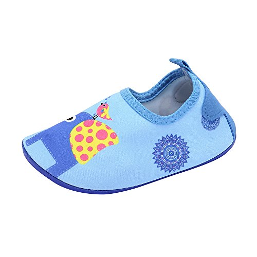 HAPPIShare Kids Boys and Girls Swim Water Shoes Quick Drying Barefoot Aqua Socks Shoes for Beach Pool Surfing Yoga (Liquid Pinstripe Suit)