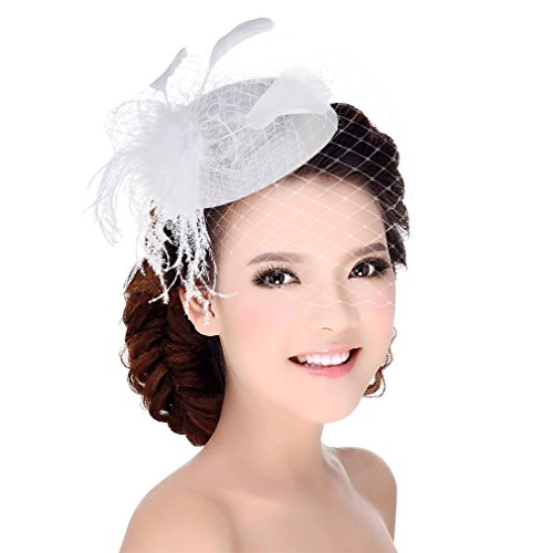 Cloudkids Fascinator Hair Clip Pillbox Hat Bowler Derby Hat Feather Veil Wedding Party Hat White One (White Hat Pin)