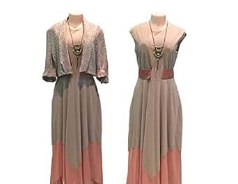 Beige Satin Casual Dress For Women
