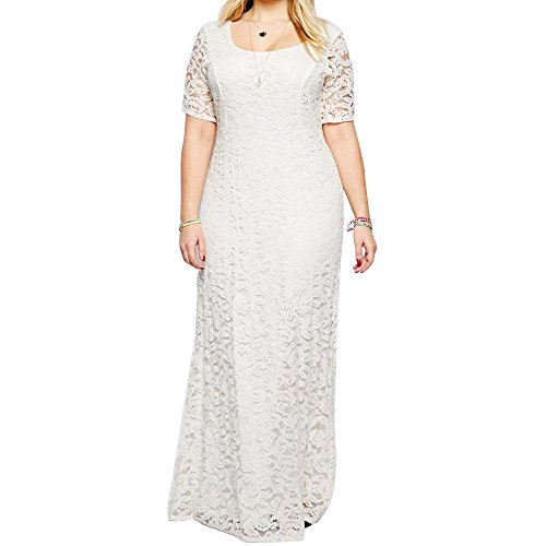 DAVID.ANN Women's Full Lace Plus Size Wedding Maxi Dress Gowns,White,22 Plus