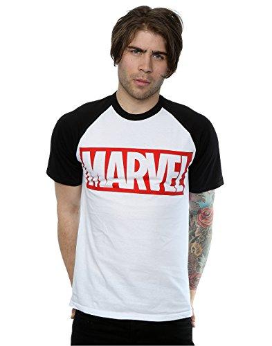 Marvel Men's Comics Simple Logo Baseball T-Shirt Small White/Black