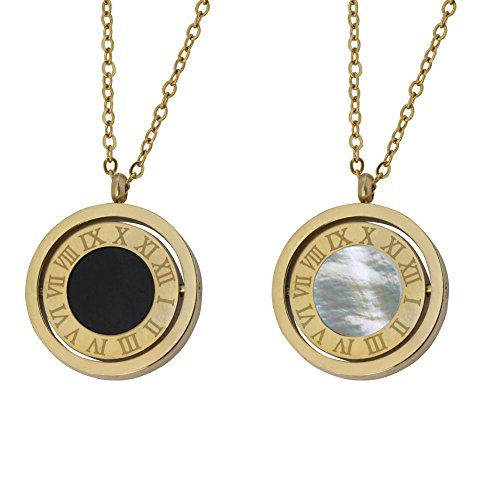 - White/Black Natural Seashell Double Sided Clock Necklace Pendant Jewelry for Women in Hypoallergenic 316L Stainless Steel 14K Gold Plated Expandable Chain with Roman Numerals Letters Gifts for Women
