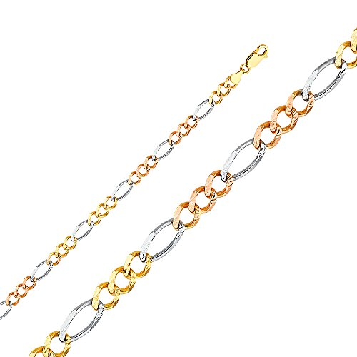 Tri Color Figaro Bracelet (TWJC 14k Tri Color Gold Solid Men's 5.5mm Figaro 3+1 Concave Chain Bracelet with Lobster Claw Clasp - 7.5