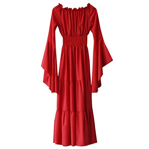 ℱLOVESOOℱ Women Elegant Maxi Dress Vintage Cold Shoulder High Waist Medieval Renaissance Cosplay Party Club Long Dress Red