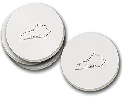 Raised Kentuckian Kentucky State Sandstone Coasters Round Set of 4