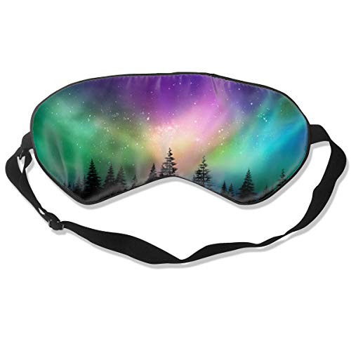 Colorful Northern Lights Silk Eye Mask with Adjustable Strap,Super Soft Comfortable Night Sleep Mask,Light Blocking Blackout Eye Cover Blindfold for Sleeping Travel Women Men