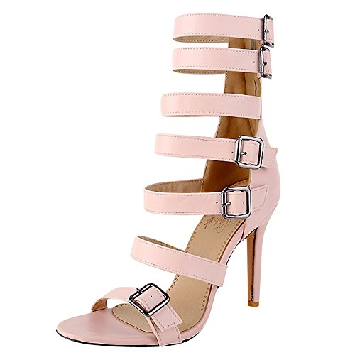 Womens Pink Heel Sandals Toe Buckle Foot High Heeled Zipper Open Charm Z6S1qwT