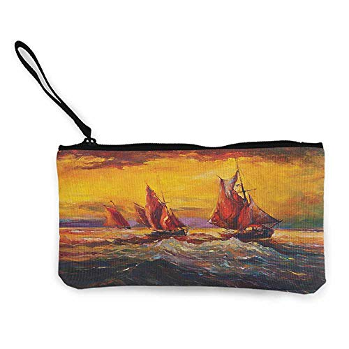 Women's hand bag clutch bag Country Image of Old Sailboats Ships Cruising in Waves at Sunrise Time Dark Sky Art Wallet Coin Purses Clutch W 8.5
