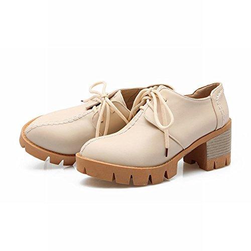 Carolbar Donna Stringate Moda Dolce Comfort Comfort Chunky Mid Heel Oxford Scarpe Beige