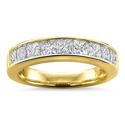 14k Yellow Gold Princess cut Diamond 9 stone Bridal Wedding Band Ring (1 1/2 cttw, H I, I1 I2)